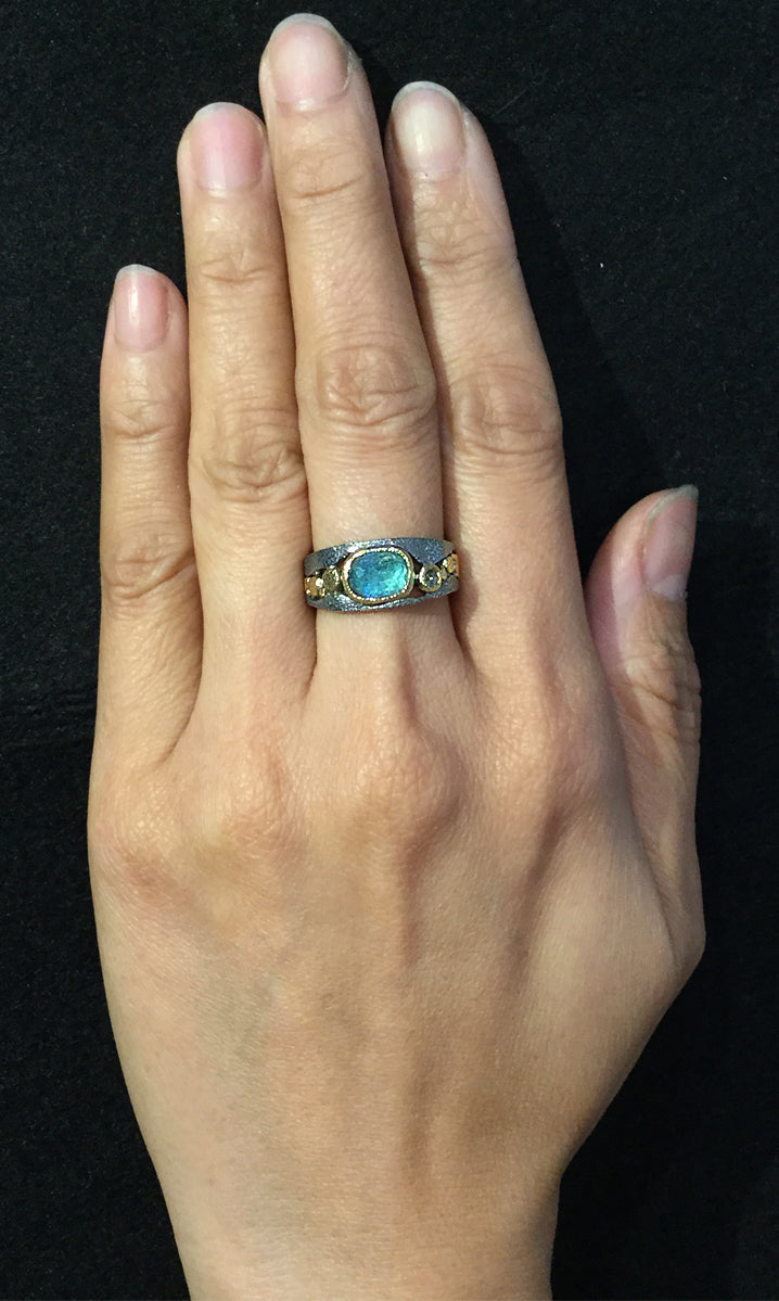 River Pebbles Ring with Blue Green Tourmaline and Diamond