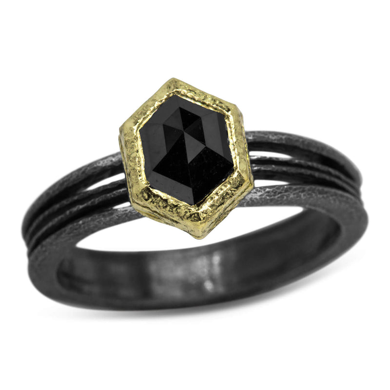 Wave Ring with Black Hexagonal Diamond