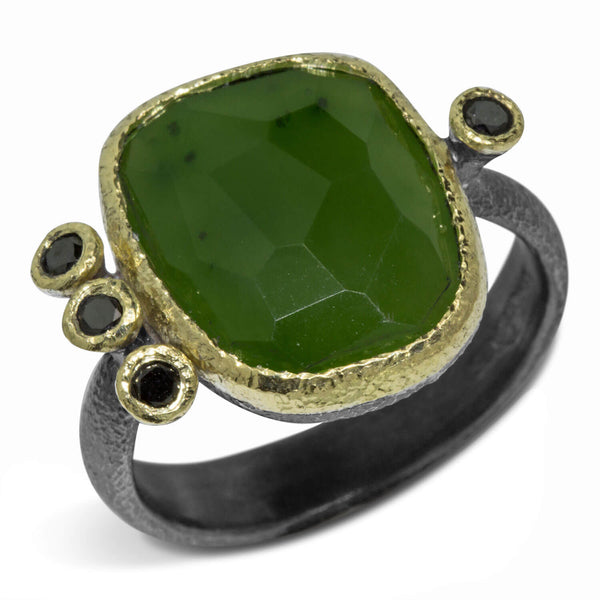 Jade Ring with Black Diamonds
