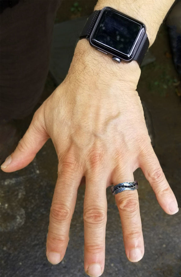 Midnight River Band with black diamonds on man's hand