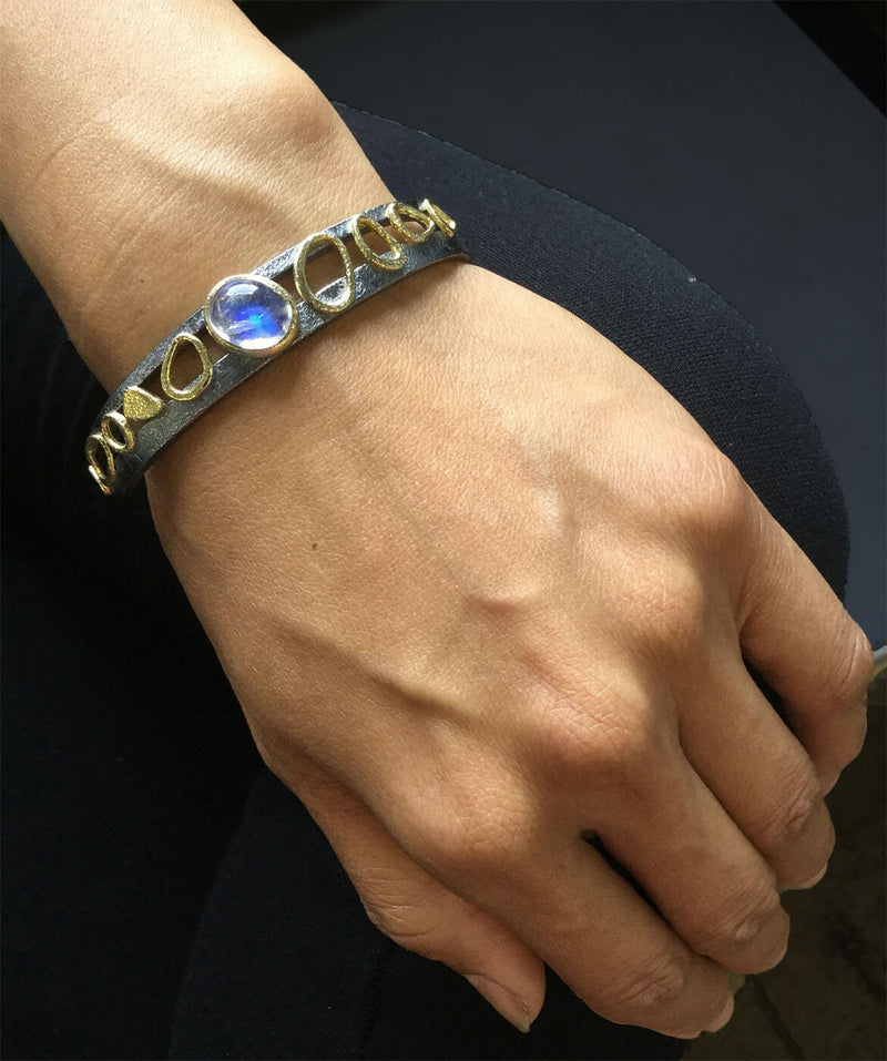 Double Cuff Oval Moonstone Bracelet