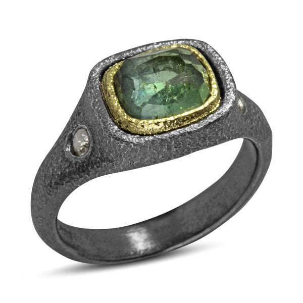 Mountain Plateau Ring with one of a kind green tourmaline