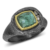 Mountain Plateau Ring with green tourmaline and diamonds