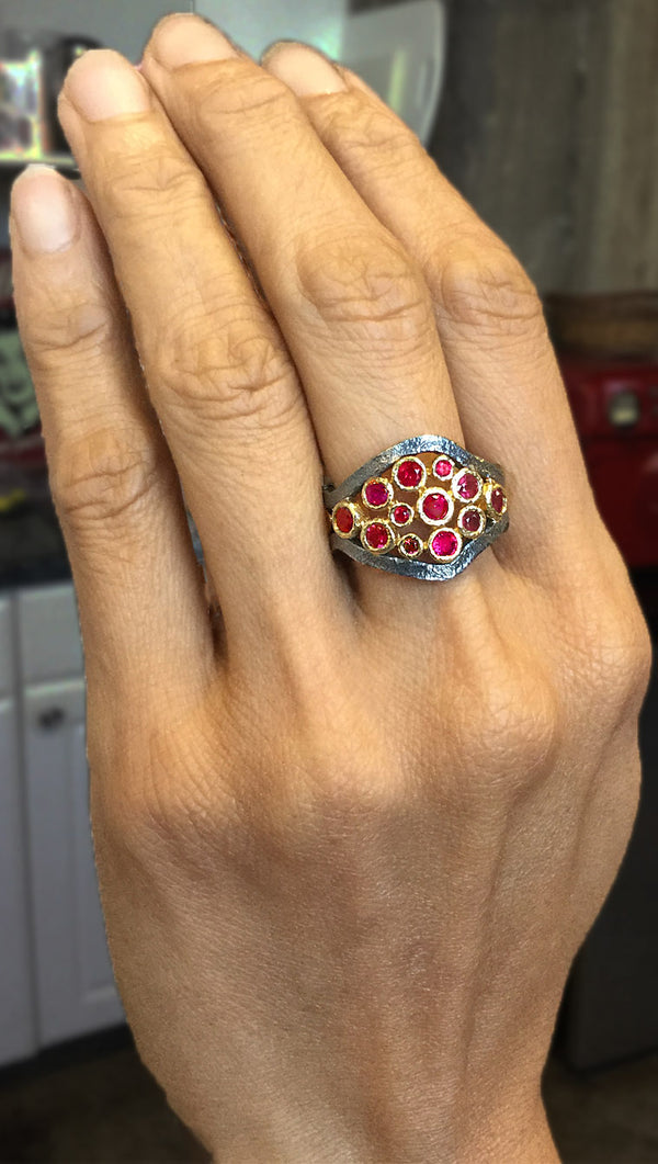 Mountain Stream Cluster Ring with Rubies