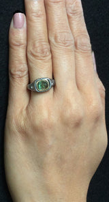 Mountain Plateau Ring with Green Tourmaline and Diamonds on hand