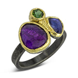 amethyst, sapphire and green tourmaline ring
