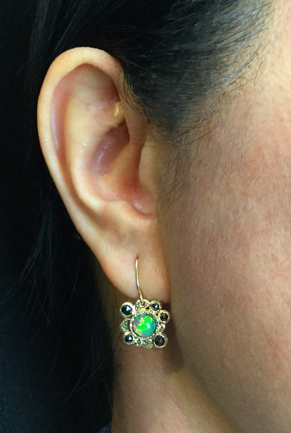 Ethiopian Opal Dangle Earrings on ear