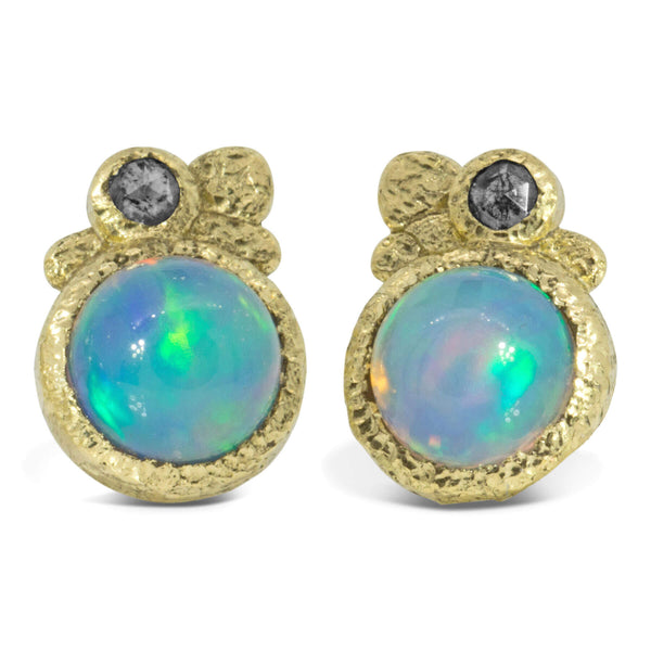 Ethiopian Opal Pebble Stud Earrings