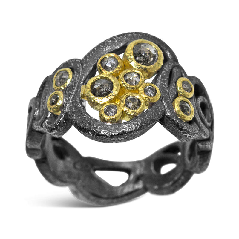 Open Ovals Ring with salt and pepper diamonds