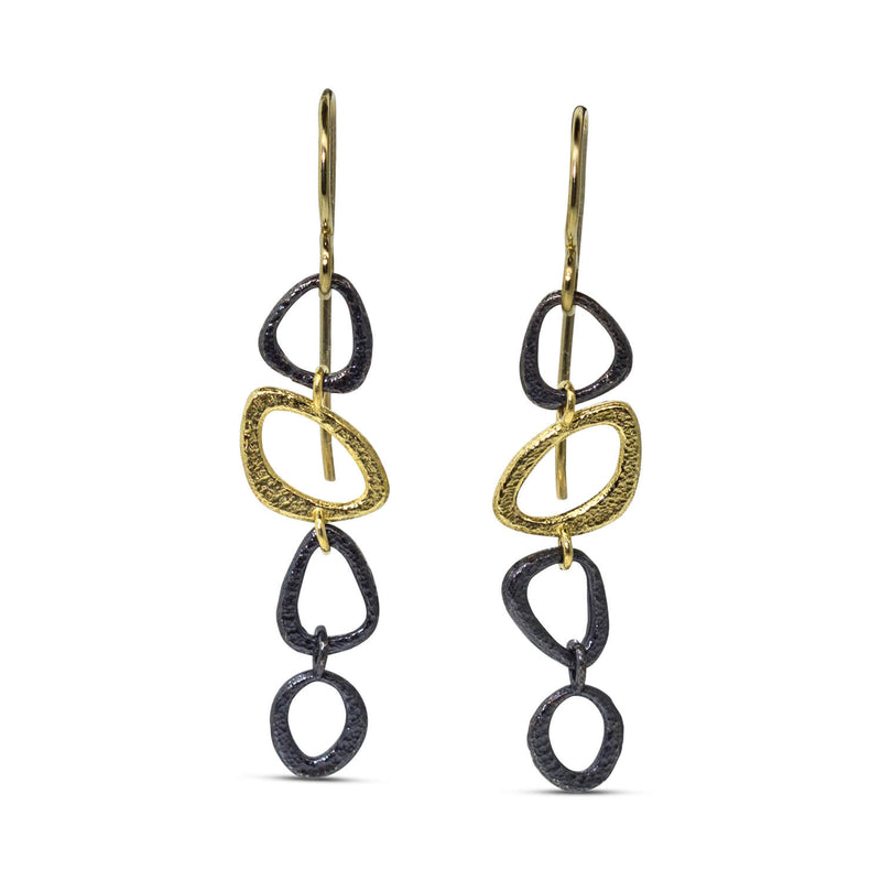 Open Pebble Chain Earrings
