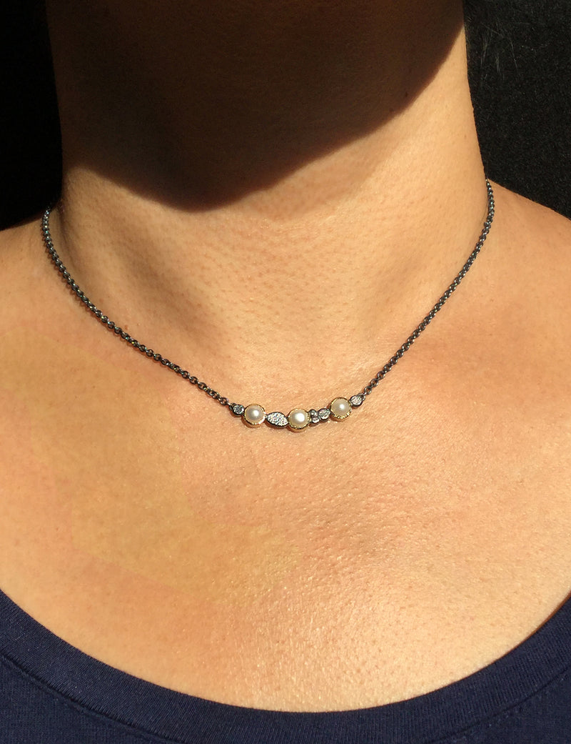 Pearl and Pebbles Bar Necklace