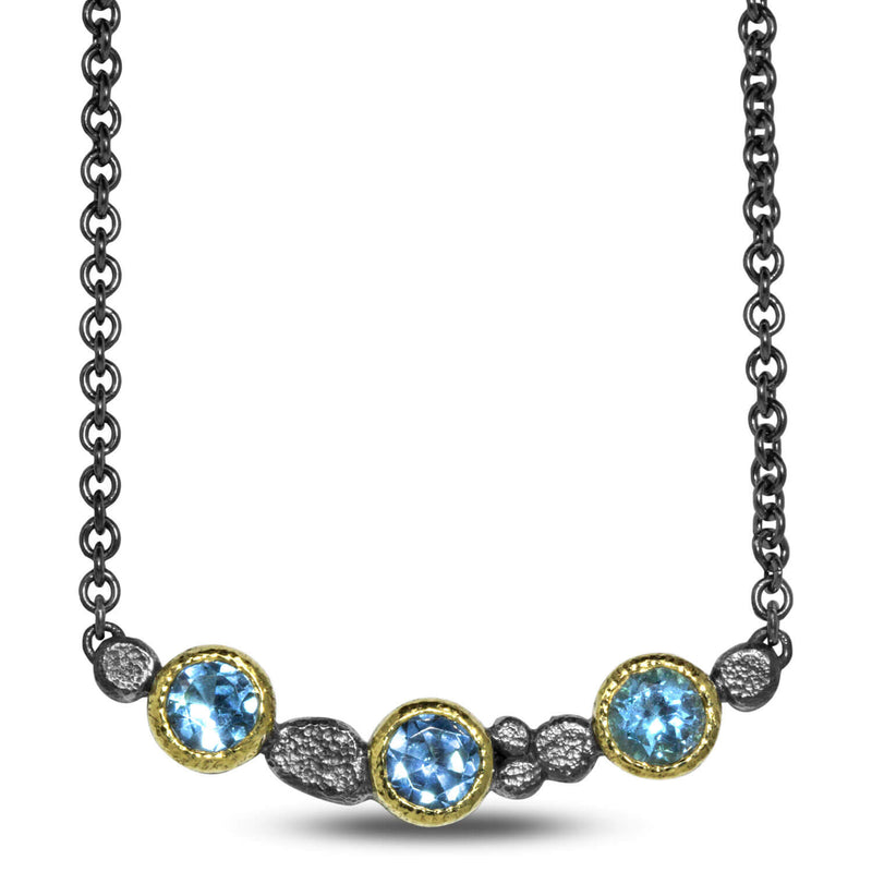 Stones and Pebbles Bar Necklace with Blue Topaz