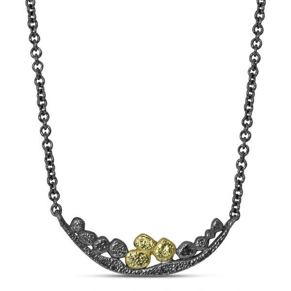 Wavy Pebbles Bar Necklace oxidized silver and gold