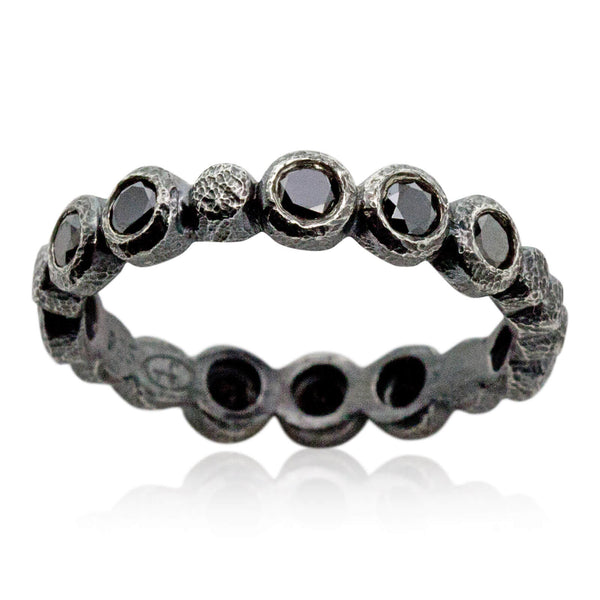 Pebbles and Diamonds Band in Oxidized Silver