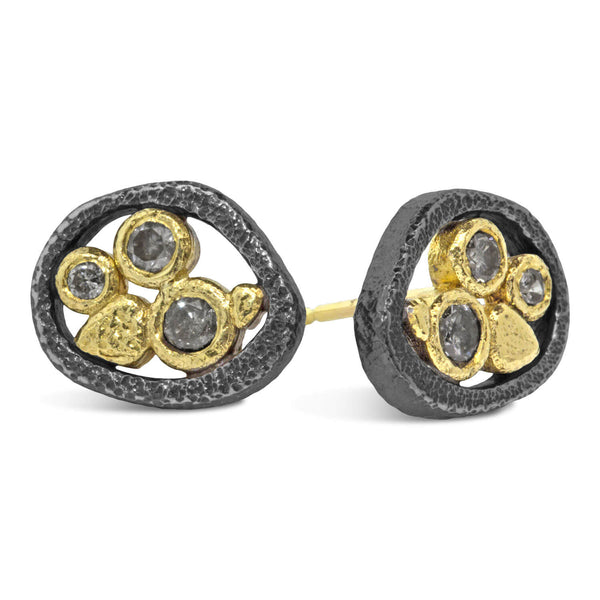 Tossed Pebbles Stud Earrings with Salt & Pepper Diamonds