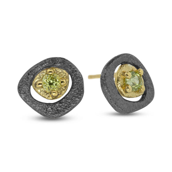 Peridot pebble stud earrings
