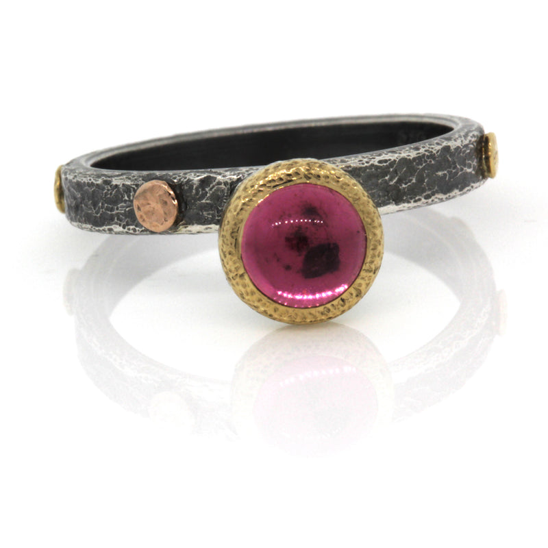 Textured Pebbles Pink Tourmaline Ring