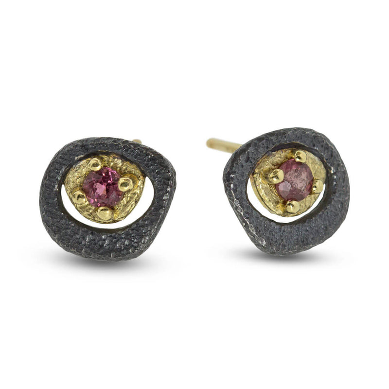 Pink Tourmaline Pebble Stud Earrings