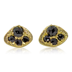 Black Diamond Puddles Stud Earrings