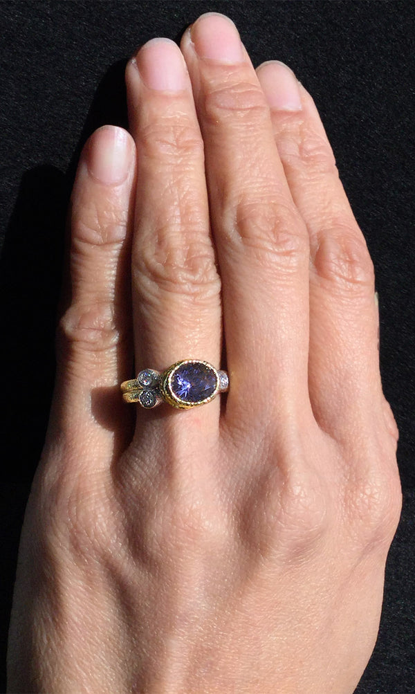 Double Band Purple Blue Spinel Ring