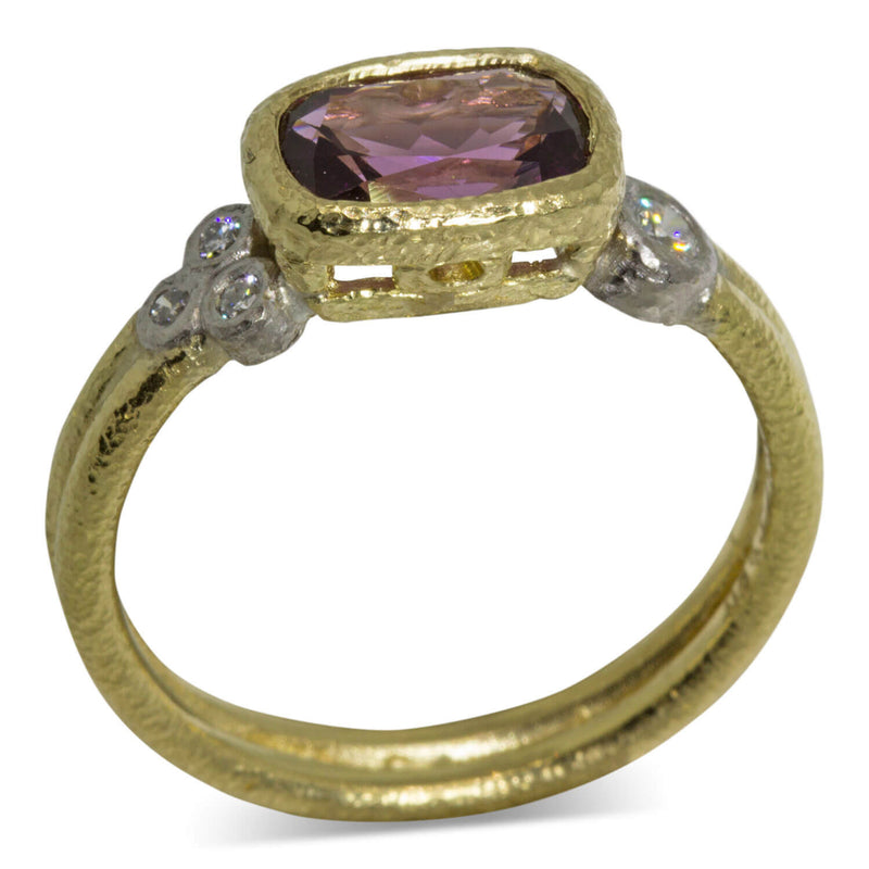 Delicate double band raspberry spinel ring side view