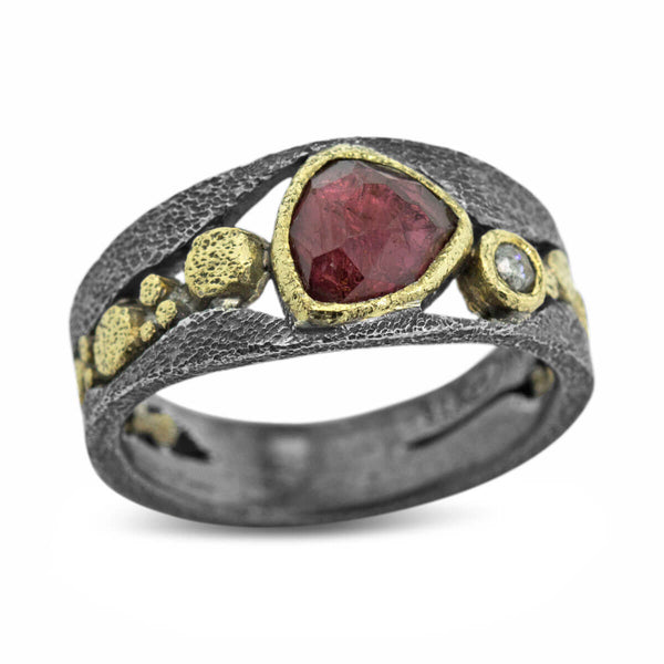 River Pebbles Ring with rhodolite