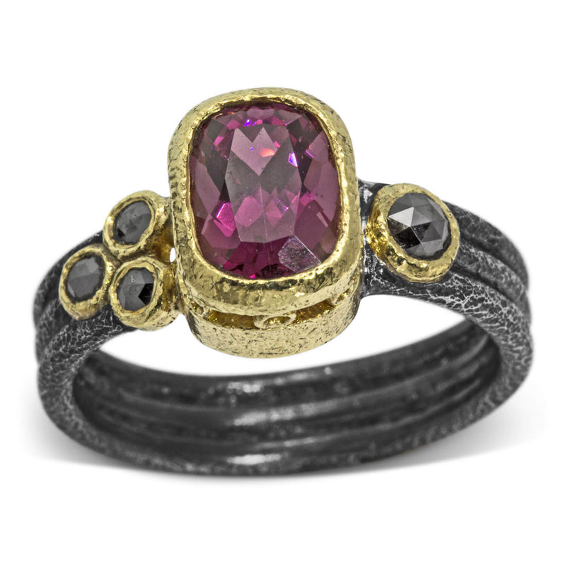 Delicate Triple Band Ring with Rhodolite and Black Diamonds
