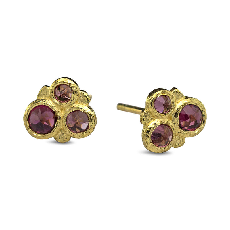 Rhodolite Cluster Stud Earrings