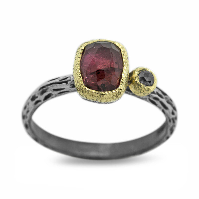 Cactus Texture Ring with rhodolite and diamond