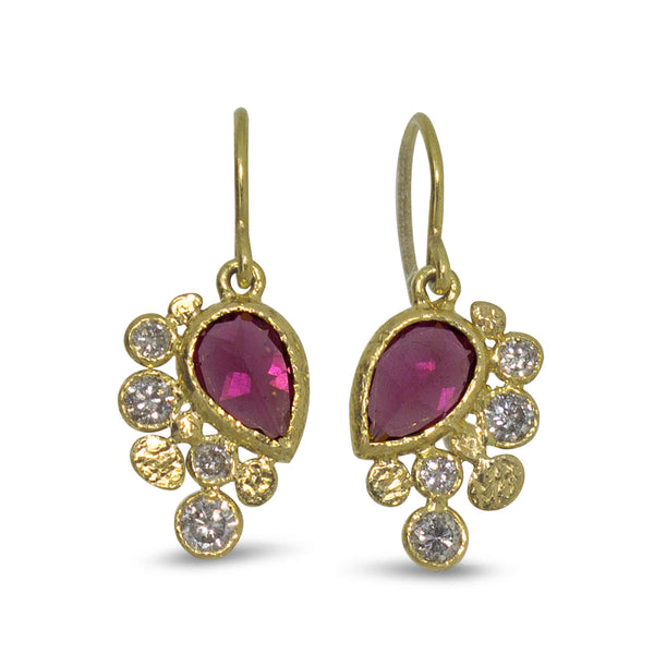 Rhodolite Dangle Earrings with diamonds