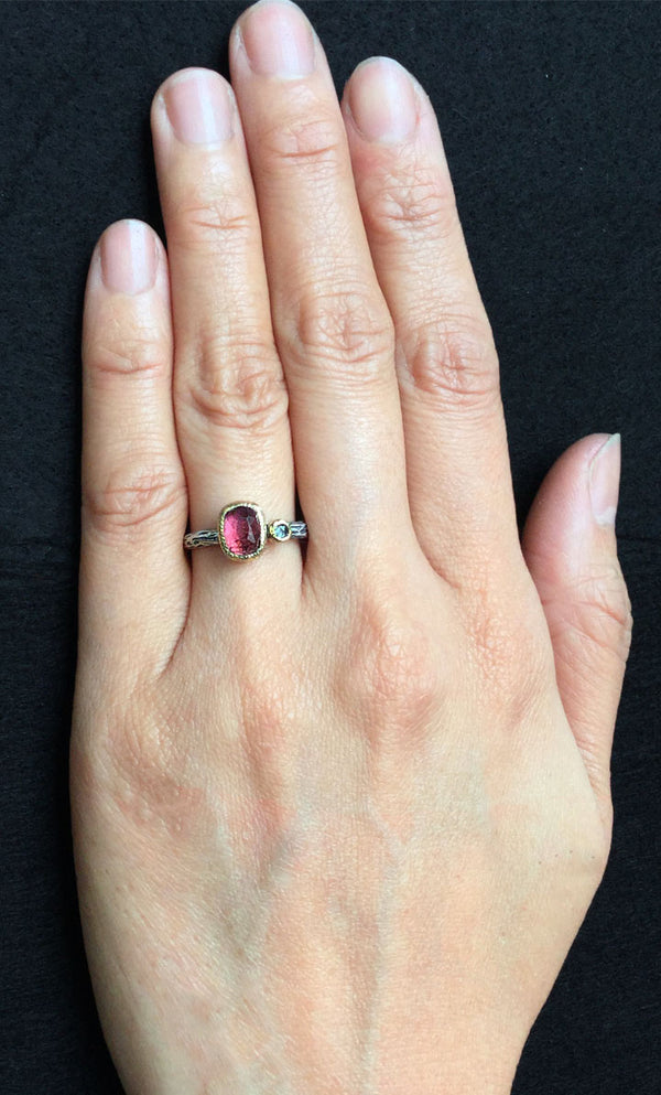 Cactus Texture Ring with Free Form Rhodolite and diamond on hand