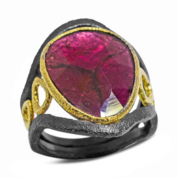 Mountain Stream Ring with rhodolite