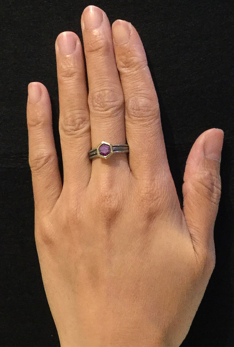 Rhodolite Wave Ring on hand