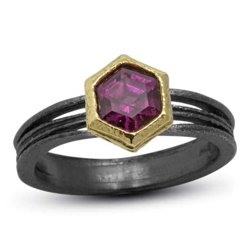 Wave Ring with Hexagonal rhodolite