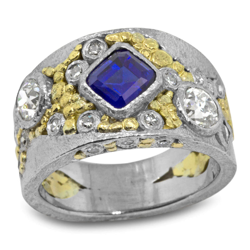 Custom River Pebbles Ring with Sapphire and Diamonds