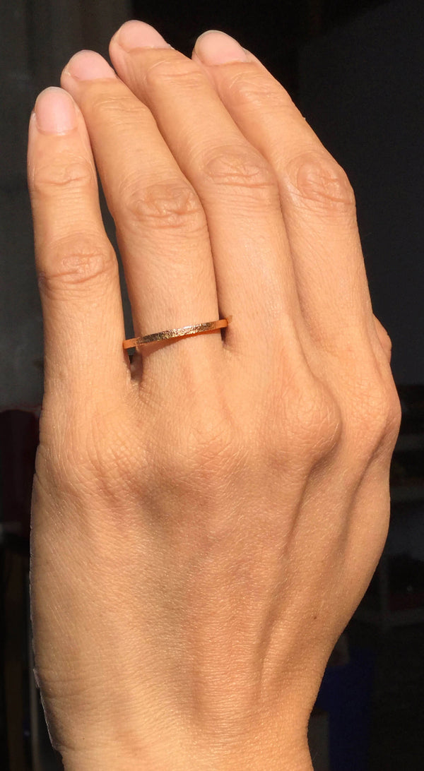 Rose Gold Flat Textured Band Narrow Width