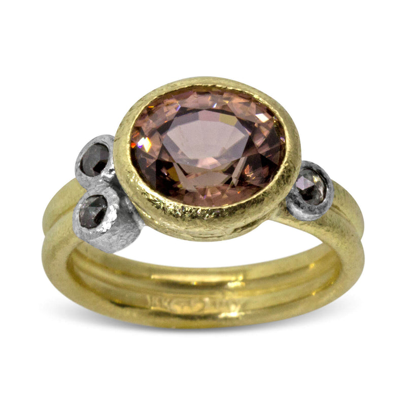Double Band Ring with Peach Zircon