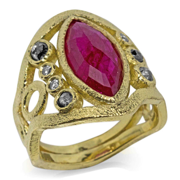 Mountain Stream Ring with Marquise Ruby