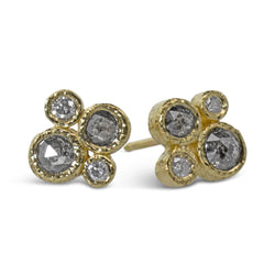 Salt and Pepper Diamond Stud Earrings created in 18k yellow gold
