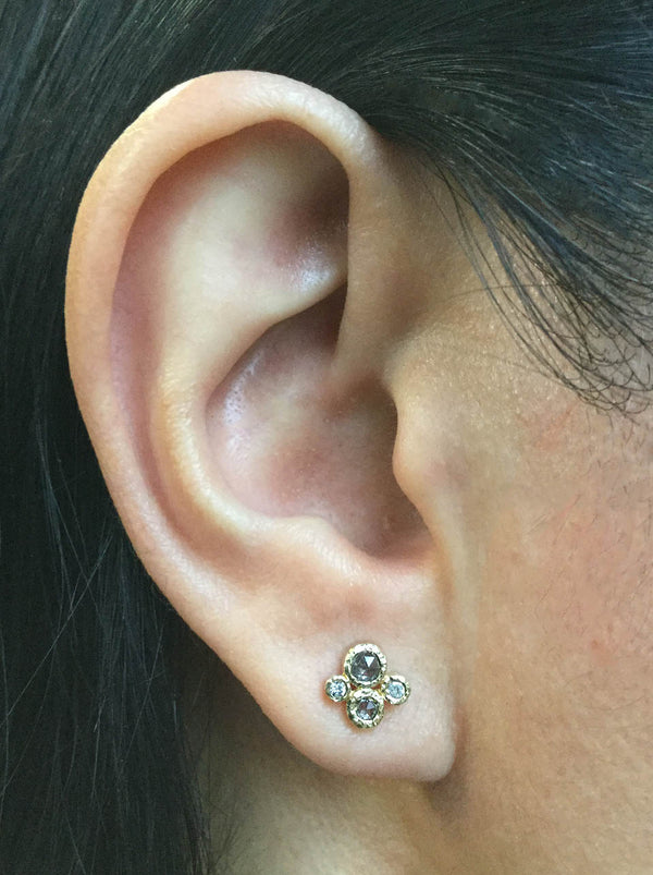 Salt and Pepper Stud Earring on ear