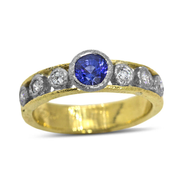 Open Flat Ring with Sapphire and Diamonds