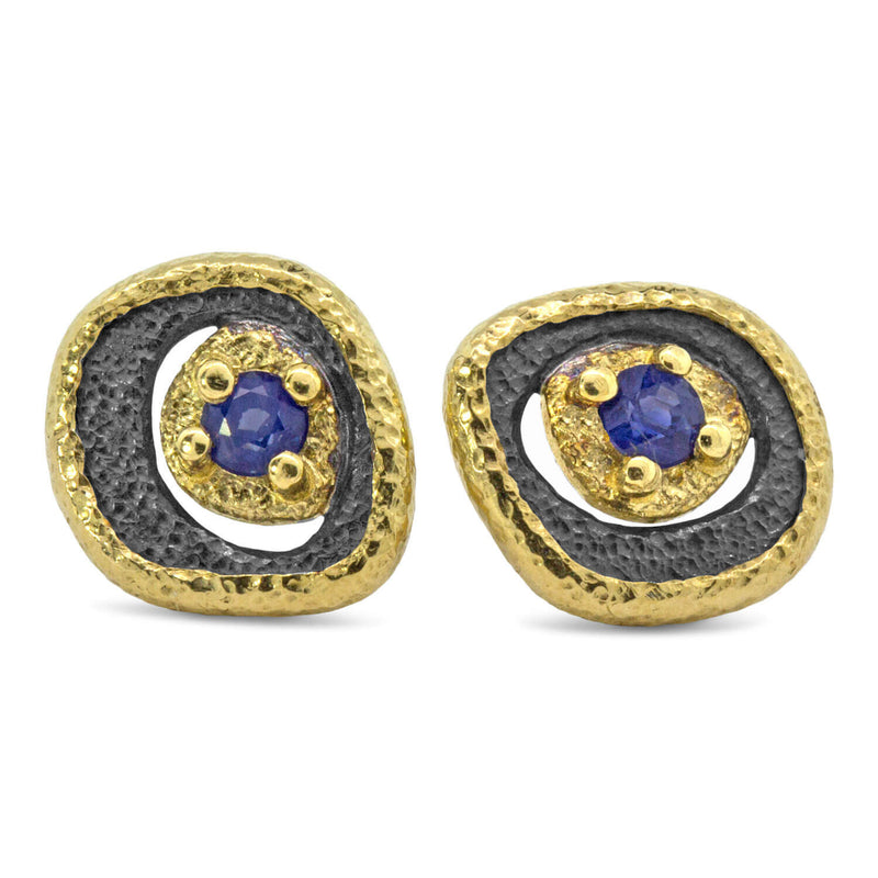 Sapphire Pebble Stud Earrings with gold frame