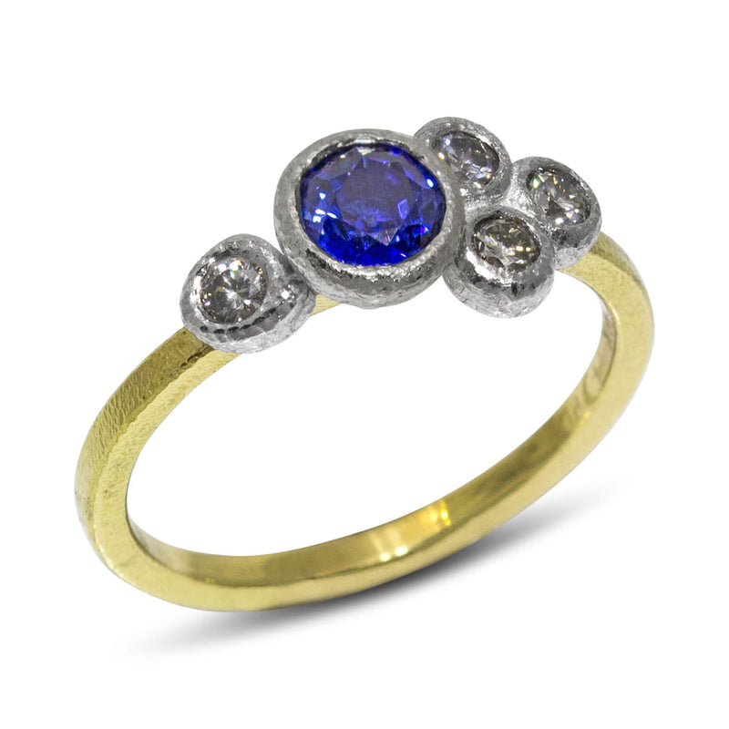 Round Sapphire Ring with Diamonds