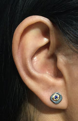 Sapphire Pebble Stud Earrings on ear