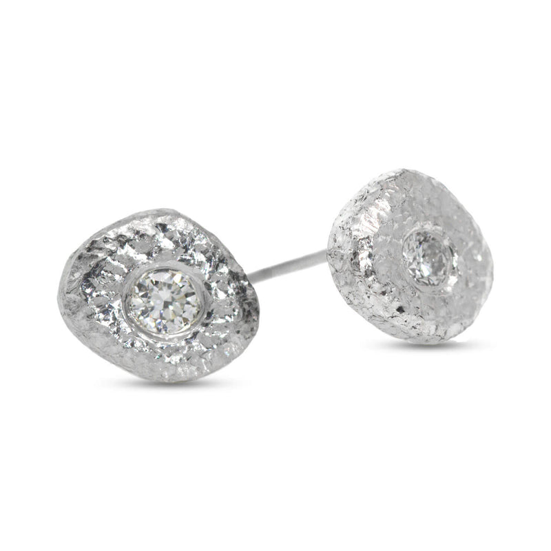 Single Pebble Diamond Stud Earrings in silver