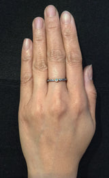 Skinny Pebbles Diamond Ring in silver on hand