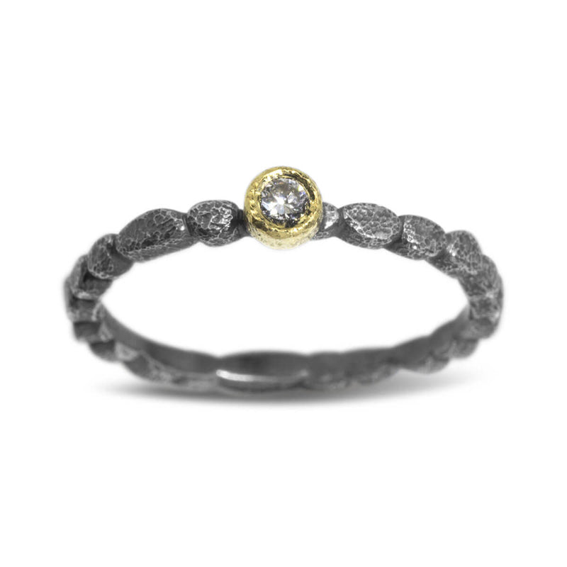 Skinny Pebbles Diamond Ring in silver