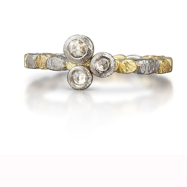 Three Rose Cut Diamond Stack Ring