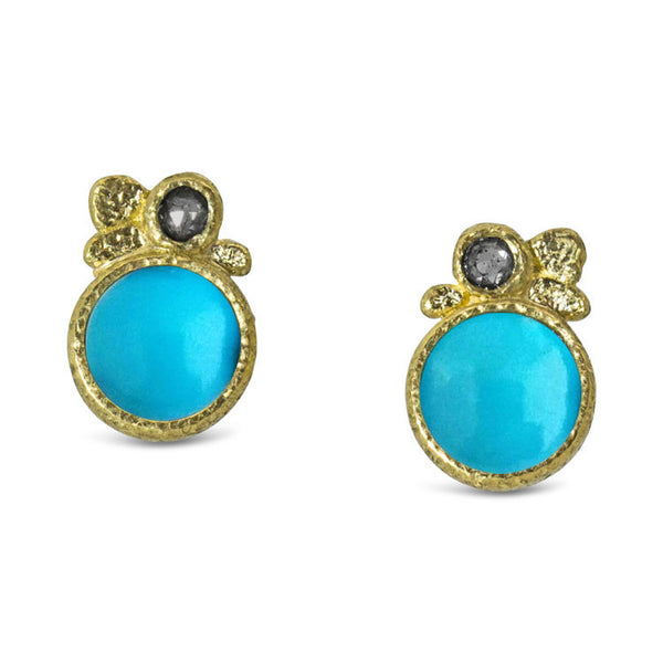 Turquoise Pebble Stud Earrings with salt and pepper diamonds