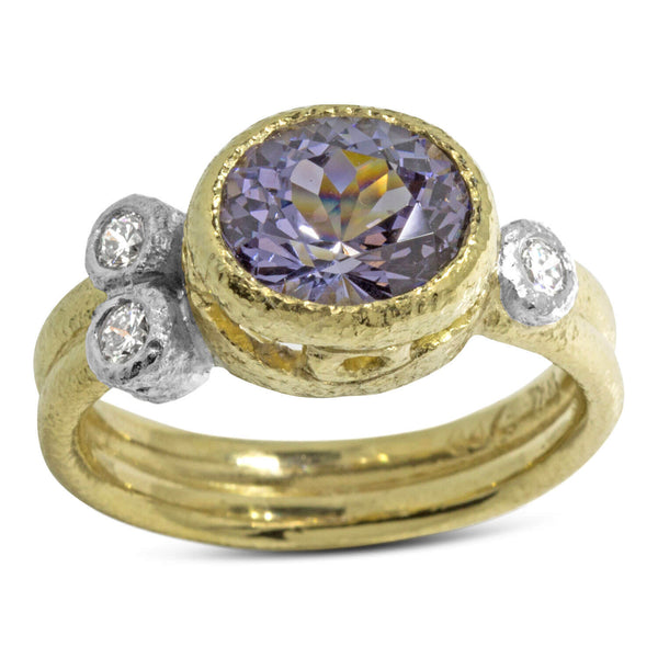 Double Band Purple Blue Oval Spinel Ring